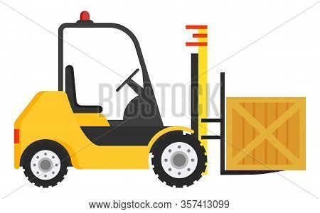 Forklift Machine For Loading And Unloading Packages. Yellow Industrial Truck Used To Lift And Move M