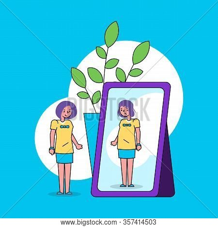 Psychology Of Self Perception Ego Concept With Girl Looks Into Mirror And Sees Herself Ugly In Refle