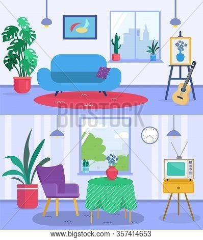 Living Room Interior Banners Set With Sofa, Guitar, Plants In Pots, Armchairs And Table, Window With