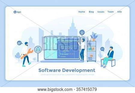 Software Application Development And Programming. Programmers Team Working With Program Code On The