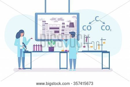 Chemical Research In Ecology Of Polluted City With Scientists People And Chemical Formula Of Air Pol