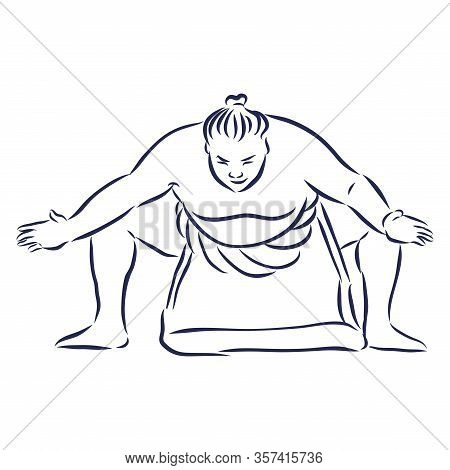 Isolated Illustration Of Sumo Wrestler, Black And White Drawing, White Background