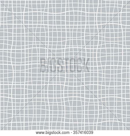 Subtle Line Pattern, Checked Background, Rough Grid Backdrop, Burlap Or Canvas, Vector Illustration