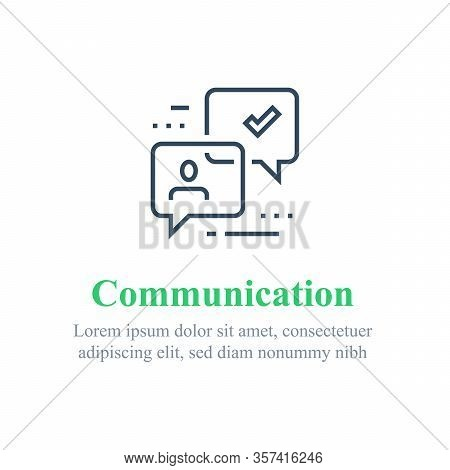 Communication Concept, Online Support, Chat Bot, Public Relations, Questionnaire Or Survey, Opinion