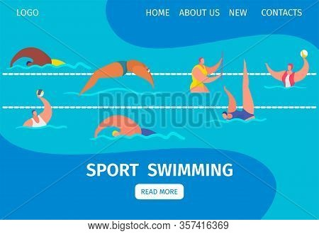 Swim Sport Web Banner With People Professional Swimmers In Swimming Pool, Cartoon Vector Illustratio