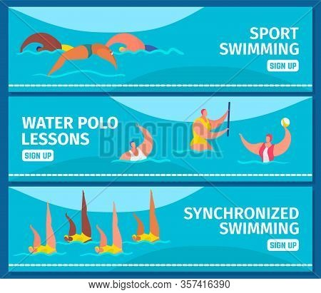 Swimming Sport With People Professional Swimmers In Swimming Pool, Web Banners Set Flat Vector Illus
