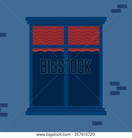 Empty Window With Closing Red Jalousie Blinds And Nobody Inside