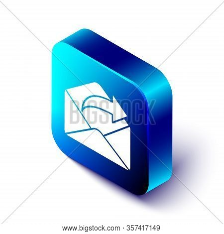 Isometric Outgoing Mail Icon Isolated On White Background. Envelope Symbol. Outgoing Message Sign. M
