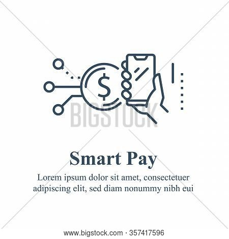 Hand Holding Smartphone, Mobile Payment, Finance Services, Online Wallet, Financial Transaction Proc