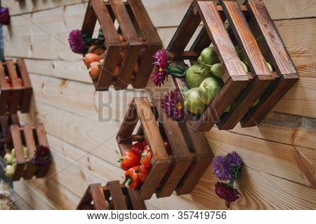 Upcycling Ideas, Recycle Crafts For Home Storage. Wooden Storage Containers For Fruit And Vegetables