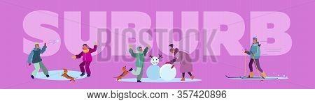 Winter Suburb Street Set. Children Snowboarding, Skiing, Playing Snowballs, Having Fun. Flat Vector