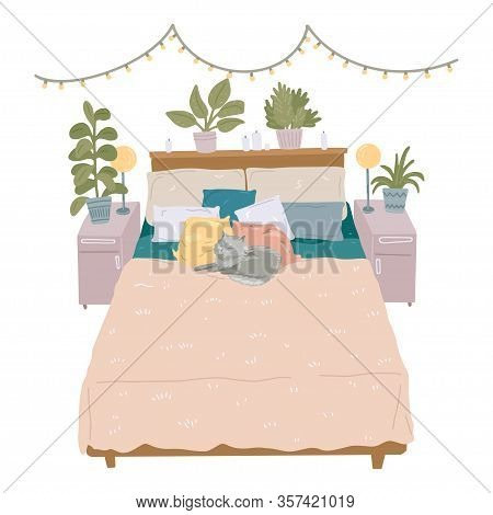 Bedroom Interior. Cat Sleeping On Pillow In Bed. Cozy Bedroom. Vector Illustration