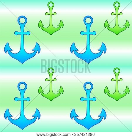 Anchors On Blue-green-white Background - Vector Seamless Pattern. Blue And Green Anchors On A Stripe