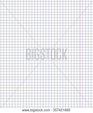 Notebook Math Squared Paper Sheet Vector Background. Exercise Book School Template Copy Space Table.