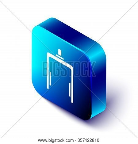 Isometric Metal Detector In Airport Icon Isolated On White Background. Airport Security Guard On Met