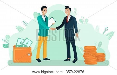 Businessmen Shacking Hands And Discussing A Deal And Business Issues. Work Collaboration, Workers Co