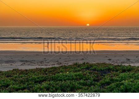 Beautiful Colorful Sunset At Morro Bay. California. Usa