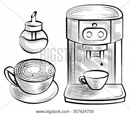 Coffee Machine, Cup Of Cappuccino, Sugar-bowl Objects On White. Sketch Of Automatic Maker Aroma Drin