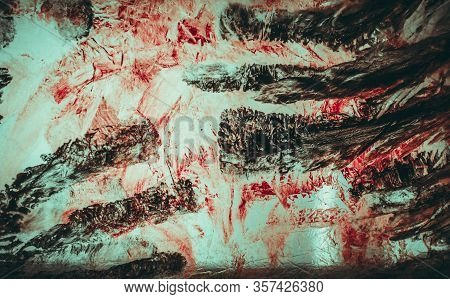 Dirty Bloody Creepy Marks Of A Hand Spooky Abstract Background. Horror Movie Backdrop