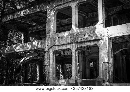 Exterior Of Ruined New Barracks Of Military Transit Depot At Westerplatte, Where German Attack On Th
