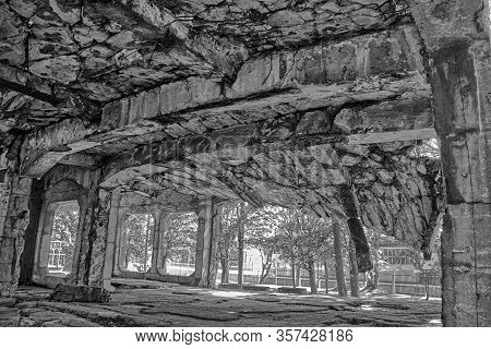 Interior Of Ruined New Barracks Of Military Transit Depot At Westerplatte, Where German Attack On Th