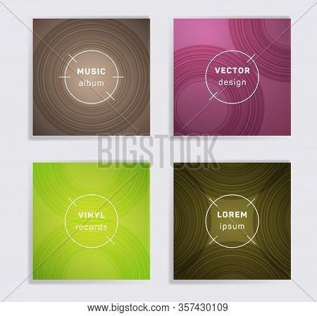 Retro Vinyl Records Music Album Covers Set. Semicircle Curve Lines Patterns. Tech Creative Vinyl Mus
