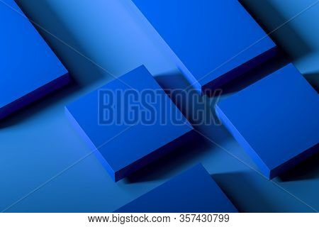 Blue Blank Foursquare Showcase With Empty Space On Blue Background. 3d Rendering. Minimalism Concept