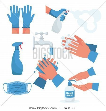 Prevention Set. Rubber Gloves On Hands, Medical Mask. Bottle Of Antiseptic Spray. Antibacterial Flas