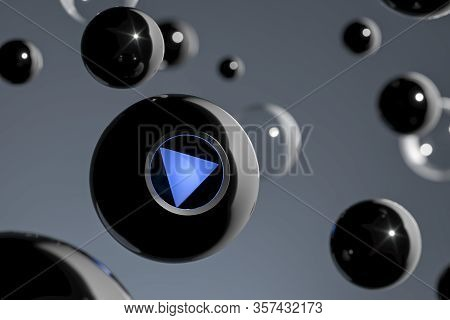 Magic Ball Fortune Teller With Blue Play Button, 3d Rendering.