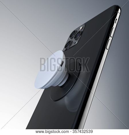 Black Mobile Phone With White Pop Socket On Light Background. 3d Rendering.