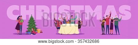Christmas Celebration Set. Family People Giving Gifts, Dancing, Toasting, Suburb Street. Flat Vector