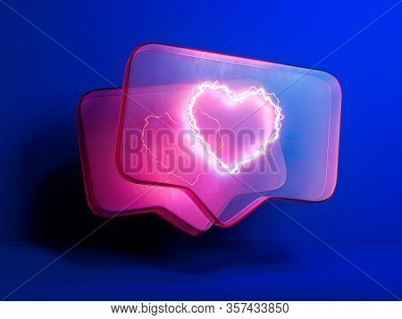 Pink Heart Like Symbol Or Icon In Message Notification. Speech Bubble On Blue Background. 3d Renderi