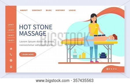 Hot Stone Massage, Spa Salon Web Landing Page Template Vector. Girl Lying At Massage Table, Beauty S