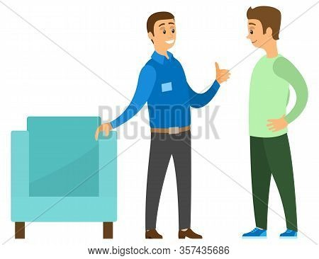 Man In Furniture Store Vector, Isolated People In Shop. Consultant Showing Armchair To Customer. Mal