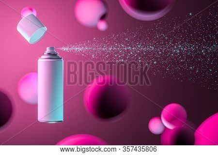 White Aerosol Paint Can With Empty Space Spraying White Sparks On Pink Background. 3d Rendering. Min