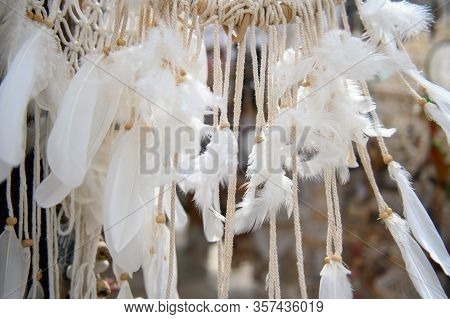 Dream Catcher With Feathers Threads And Beads Rope Hanging. Dream Catcher Handmade.