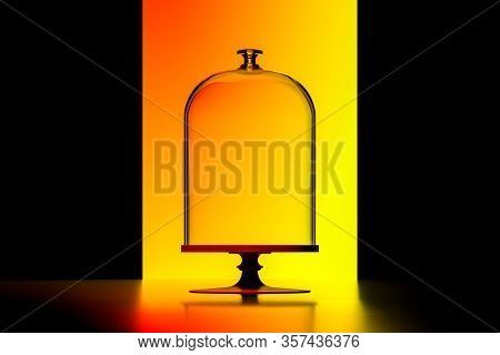 Dish With Transparent Bell Glass On Orange Illuminated Background. Showcase With Empty Space. 3d Ren