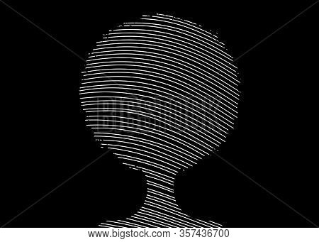 Curly Afro Hair Drawing With Lines, Portrait African Women, Dark Skin Female Face With Curly Hair Af