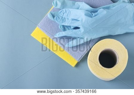 Toilet Paper, Gloves And Cleaning Napkins On A Blue Backgroundd, High Unexpected Demand, Deficit, Co