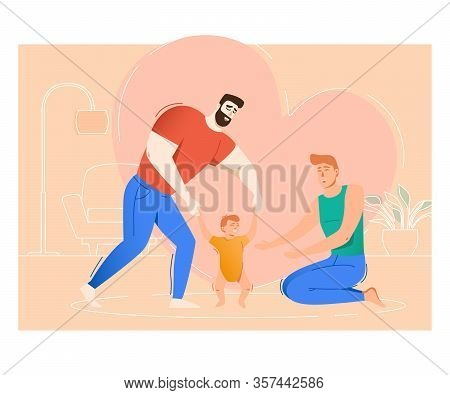 Two Fathers Raising Son. Parents Helping Toddler To Make His First Steps. Family Concept. Illustrati