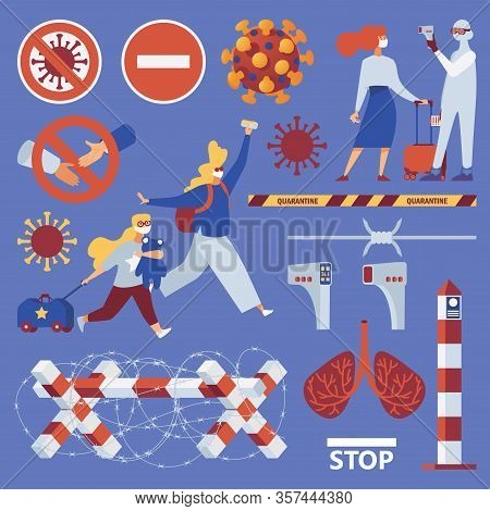 Vector Set About Coronavirus And Borders Closure. Flat Characters And Objects, Covid-19 Virus.
