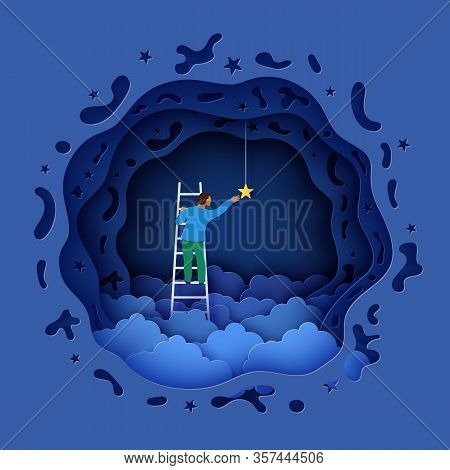 Man On A Ladder To Pick The Star Above Cloud In Paper Cut Style. Papercut Businessman Climbing On La