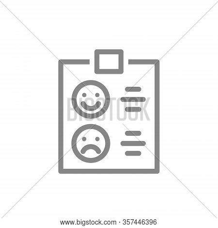 Clipboard With Happy Or Sad Face Line Icon. Checklist For Evaluating Service, Tablet With Rating, Te