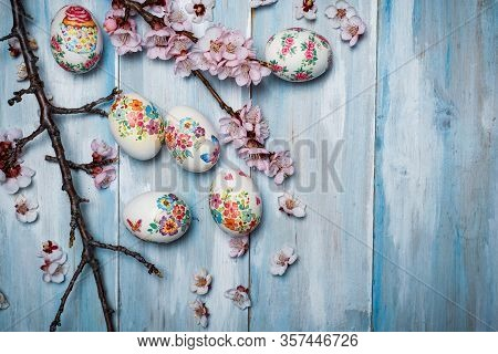 Decoupage Decorated Easter Eggs With Cherry Blossom Flowers