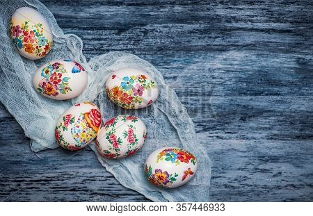 Decoupage Decorated Easter Eggs With Flower Pattern For A Happy Holiday