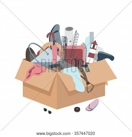 Messy Box With Useless Broken Things. Vector Illustration
