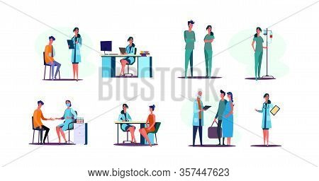 Medical Occupation Set. Doctors Instructing Patients, Sitting At Workplace In Office, Taking Blood C
