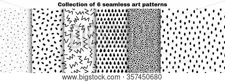 Collection Of Seamless Art Patterns. Hand-drawn Dots, Circles, Zigzags, Ovals, Droplets Isolated On