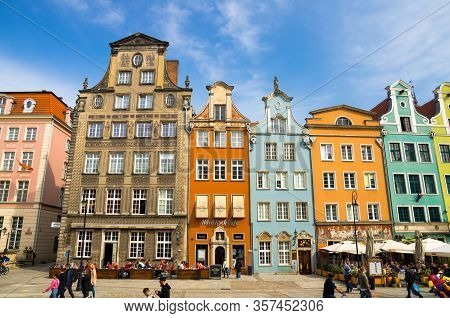 Gdansk, Poland, April 15, 2018: Facade Of Beautiful Typical Colorful Houses Buildings On Dluga Long