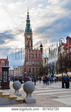 Gdansk, Poland, April 15, 2018: People Walk Down Dluga Long Market Street Dlugi Targ Square In Old H